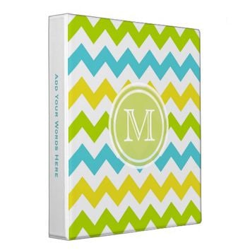 Monogram: Fruity Chevron Striped Binder