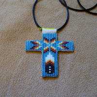 square stitch beaded Native American inspired cross necklace in Mallard blue