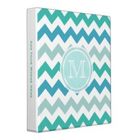 Monogram: Beach Blue Chevron Striped Binder