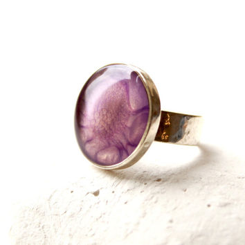Sterling Silver Adjustable Ring, Round Sterling Ring, Hand-Painted Silver Ring, Round Bezel Ring, Amethyst Color and Resin Hand-Painted Ring