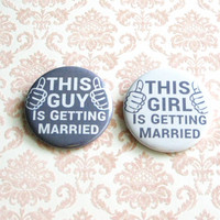 Wedding Pinback Buttons Bride Groom Married Grey Accessories Newlywed Gifts Large Buttons