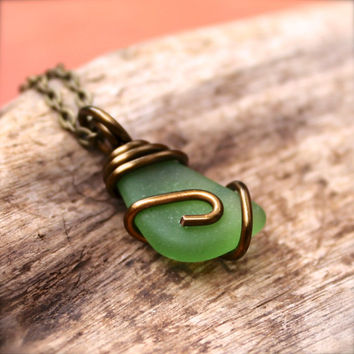 Sea Glass Necklace - Beach Boho Jewelry from Hawaii - Hawaii Seaglass Jewelry - Green Gypsy Necklace - Hawaiian Jewelry - Bohemian Necklace
