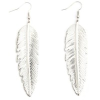 Oversized Etched Feather Earrings