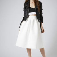Pleat Scuba Midi Skirt - White