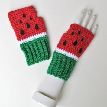 Ready to Ship Watermelon Wristwarmers, Perfect for Summer, BBQs, Parades, Carnivals, Fingerless Texting Gloves