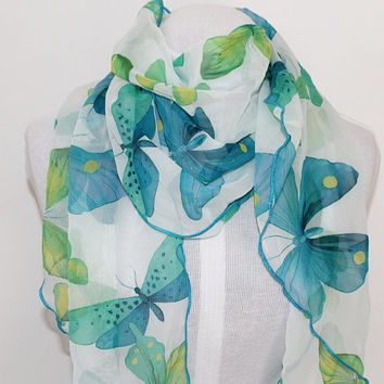 Butterfly Blues / Ripple Edge Chiffon Scarf / Opera Length