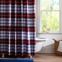 Portsmith Plaid Shower Curtain, Red