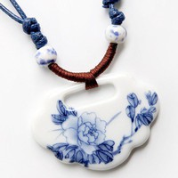 Lock Shaped Porcelain Necklace