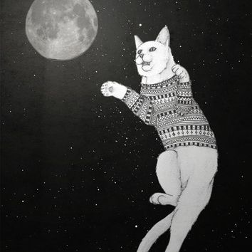 """Cat trying to catch the Moon"" - Art Print by Barruf"