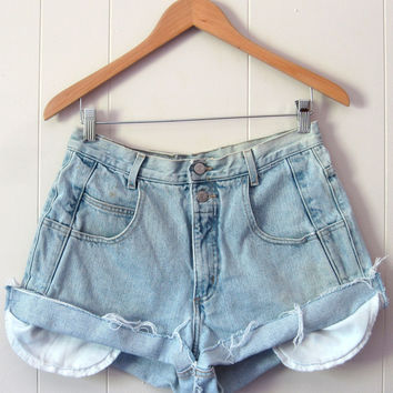 Vintage 90's Light Wash High Waisted Cut Off Denim Shorts Jean Cuffed 29""