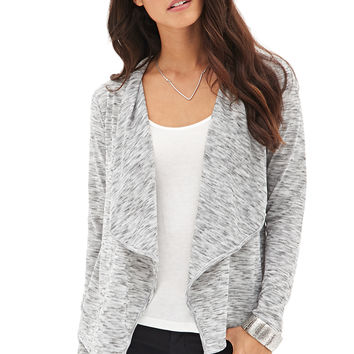 LOVE 21 Drape-Front Marled Cardigan Heather