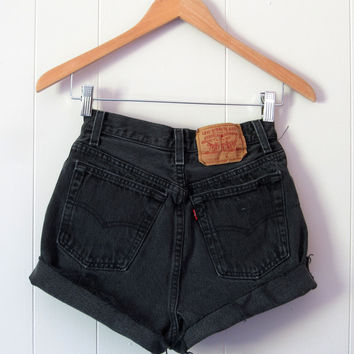 Vintage Levi's 501 Black High Waisted Cut Off Denim Shorts Jean Cuffed 24""