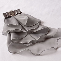 Smoky gray jabot with filigree brooch by rubinabubina on Etsy