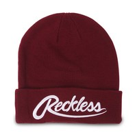 Young & Reckless Script R Beanie - Womens Hat - Red - One