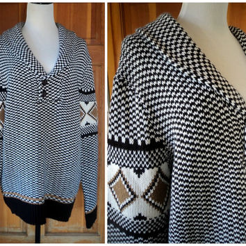 Vintage 80s Boho Sweater Unisex Oversize Aztec Big Lebowski Hippie Sweater Men Women 44 L