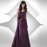 Taffeta Sweetheart Flower Floor Length Bridesmaid Dress