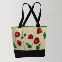 Hand printed red poppy canvas tote or shoulder bag