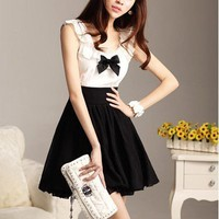 Aliexpress.com : Buy Free Shipping/2012 new dress/Black  white Alternate with/falbala/chiffon dress with bowknot/skirt/dress/evening dress/RG1203230 from Reliable Dress suppliers on ROGG HOME