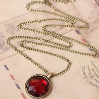 Faux Big Ruby Necklace