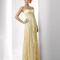 Strapless Ruffle Chiffon Floor Length Bridesmaid Dresses