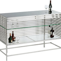 Colne Stainless Steel &amp; Tempered Glass Bar Console Table - Pure Modern Design Lifestyle Furniture