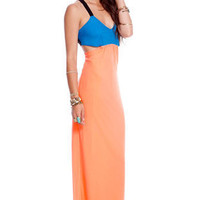 Athena Maxi Dress in Blue and Peach :: tobi