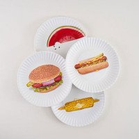 Food-Printed Picnic Plates - Set of 4