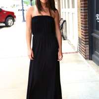 Black Fringe Tube Maxi