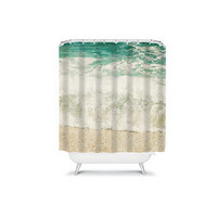 Turquoise Waves Shower Curtain - bathroom, college, dorm, apartment, beach,  travel, wanderlust, decor, cottage, chic, beachy, blue, pretty