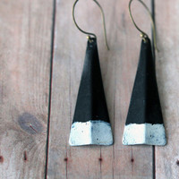 Modern Triangle Earrings - Black, White, Granite Gray Patina - Minimalist - Tribal, Rustic Brass - Geometric Dangles - Gift Box