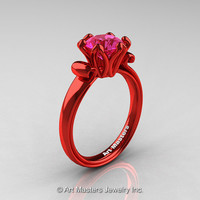 Modern Antique 14K Coral Red Gold 1.5 Carat Pink Sapphire Solitaire Engagement Ring AR127-14KCRGPS