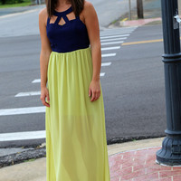 Navy + Lime Sweetheart Maxi