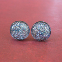 Dichroic Silver Post Earrings, Hypoallergenic Studs, Classic Jewelry, Glass Fusing - Vilma - 132 -4
