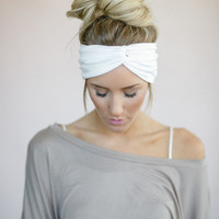 Fashion Jersey Twist Headband, Knotted Head Wrap, Twisted Center Hair Wrap, Women's Accessories, Matte Jersey Turband in White (HB-3864)