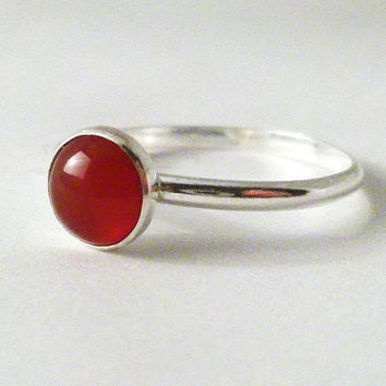 Carnelian Ring, Simple Sterling Silver Carnelian Ring