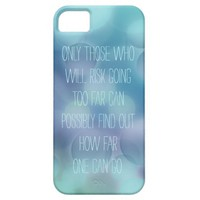 Inspirational quote iPhone 5s case aqua blue bokeh