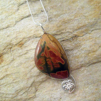 Red Creek Jasper Necklace with Daisy Flower Adornement in Sterling Silver, Jasper Jewelry