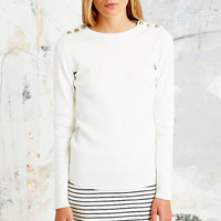 Petit Bateau Lemurien Button Detail Jumper in Cream - Urban Outfitters
