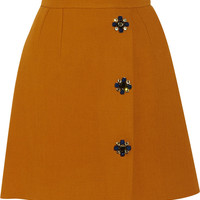 Dolce & Gabbana - Embellished wrap-effect wool-blend skirt