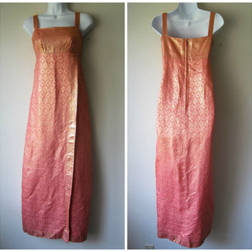 60s Empire Waist Sarong Dress, Exotic Damask in Salmon Pink & Gold Lame Tiki Goddess -- Made in Hong Kong