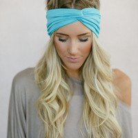 Pretty Jersey Twist Headband, Girl's Head Wrap, Fabric Hair Wrap, Cute Hair Accessories, Matte Jersey Turband in Aqua (HB-3840)