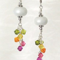 White Pearlescent Lampwork Tropical Crystal Sterling Earrings | JLynnJewels - Jewelry on ArtFire