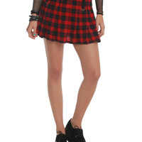 Royal Bones Red Plaid Pleated Skirt