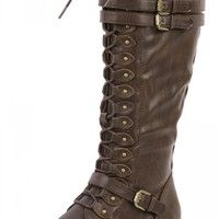 Wild Diva Timberly-65 Brown Lace Up Knee Boots | MakeMeChic.com