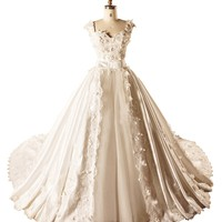 DAPENE Sexy Deep V-Neck Long Tail Lace Satin Wedding Dress