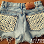 High Waist Shorts Levis Lace Pockets Size by UnraveledClothing