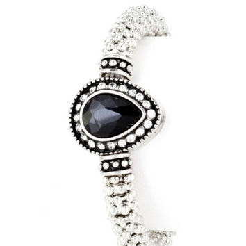 Beautiful Teardrop Paved Glass Black Stone Silver Stretch Band Bracelet