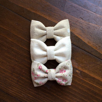 Pale floral linen, linen polka dots, and cream linen Seaside Sparrow hair bows. Perfect gift for her!