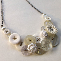 White Wedding Vintage Button Statement Necklace - Bridal Jewelry
