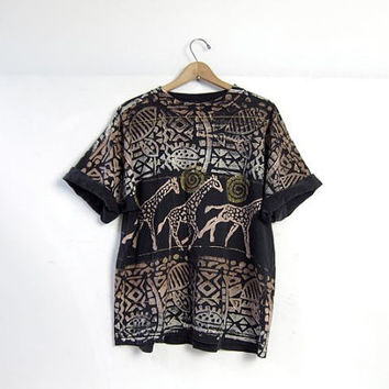 20% OFF SALE / 80s oversized t shirt. tribal print resort wear. painted black shirt. giraffes safari shirt.